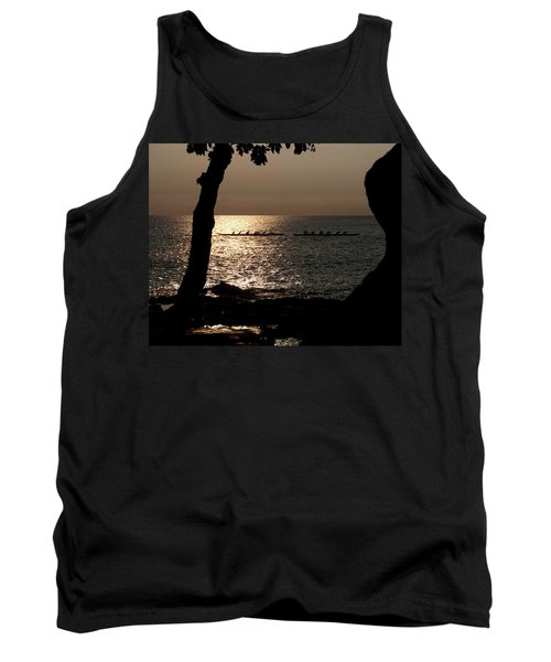 Hawaiian Dugout Canoe Race At Sunset Tank Top