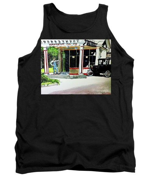 Tank Top featuring the painting Hawkeye Oil Co by Tom Riggs