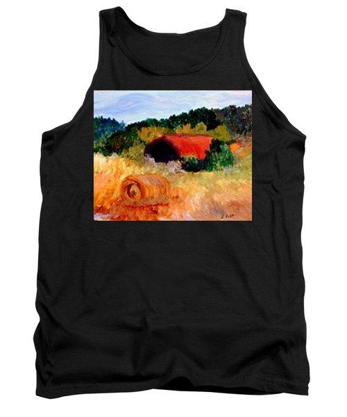 Tank Top featuring the painting Hayrolls by Gail Kirtz
