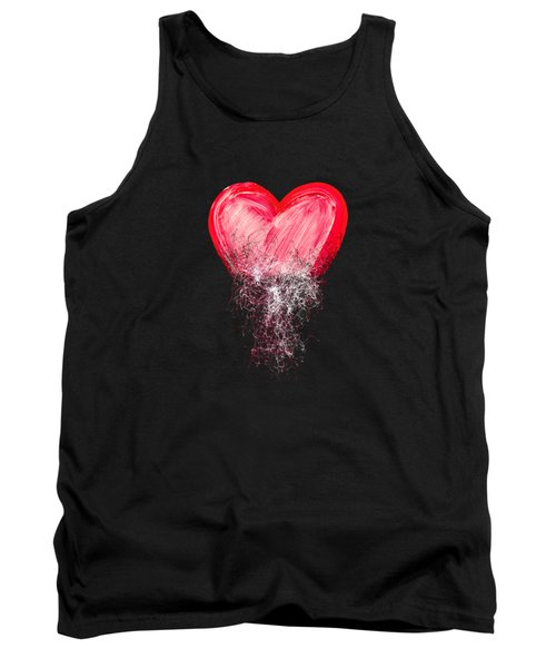 Tank Top featuring the digital art Heart Painted From Tangle Of Scribbles by Michal Boubin