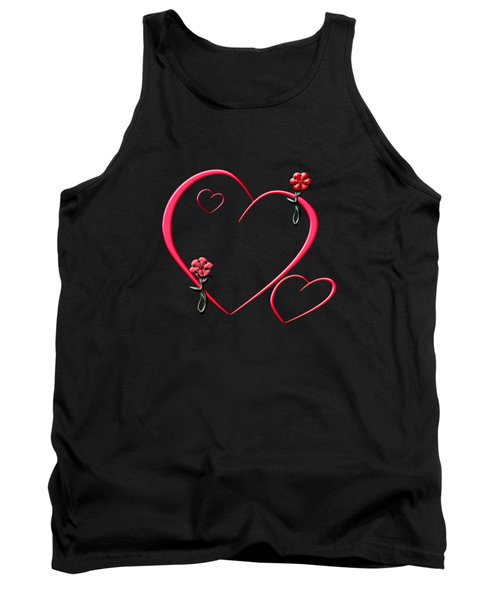 Hearts And Flowers Tank Top by Judy Hall-Folde