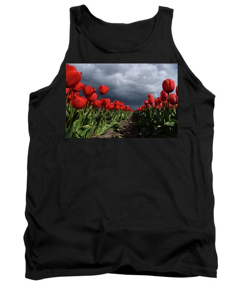 Heavy Clouds Over Red Tulips Tank Top by Mihaela Pater