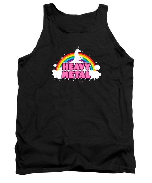 Heavy Metal Funny Unicorn  Rainbow Mosh Parody Design Tank Top