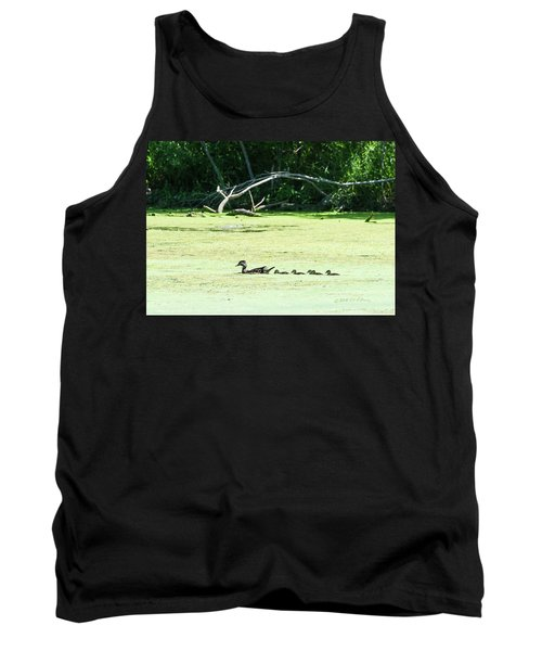 Hen And Baby Wood Ducks Tank Top by Edward Peterson