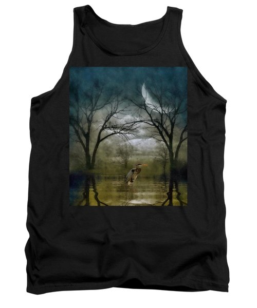 Tank Top featuring the photograph Heron By Moon Glow  by Andrea Kollo