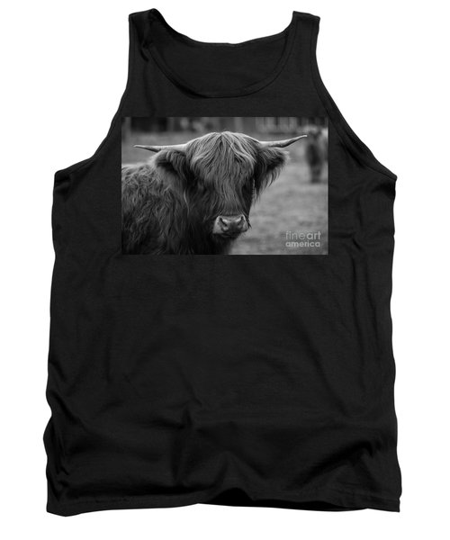 Highland Cow, 2015 - Farm Animal In Black And White Tank Top