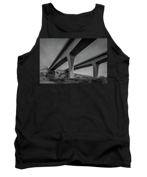 Highway 52 Over Spring Canyon, Black And White Tank Top