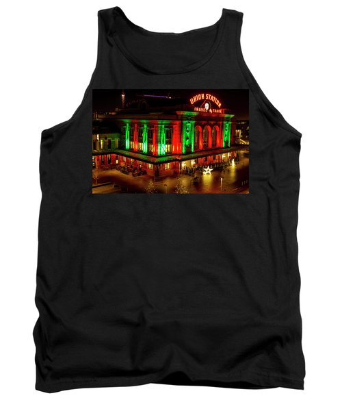 Holiday Lights At Union Station Denver Tank Top by Teri Virbickis