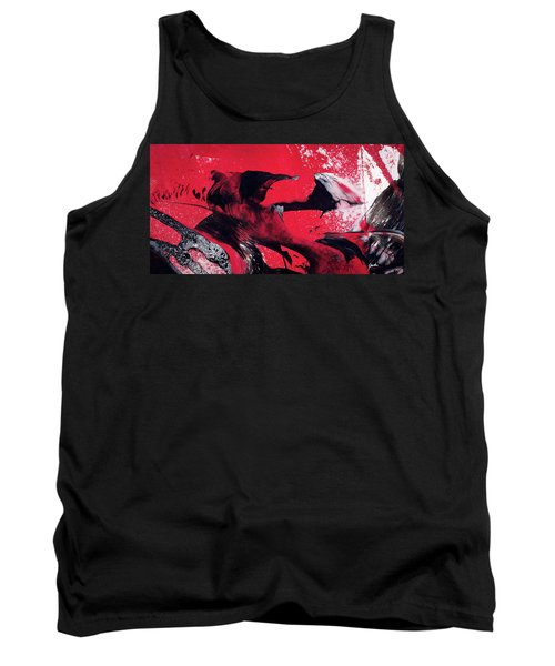 Hope - Red Black And White Abstract Art Painting Tank Top