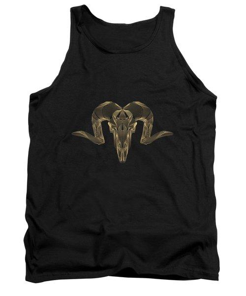 Horned Skulls - Gold Ram Skull X-ray Over Black Canvas No.1 Tank Top