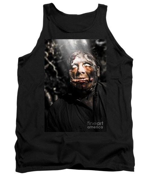 Horror Zombie With Finger Food. Bad Taste Tank Top