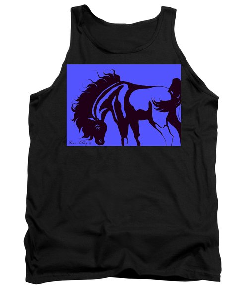Horse In Blue And Black Tank Top
