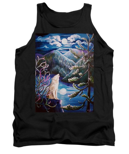 Tank Top featuring the painting Howlin' The Blues by Renate Nadi Wesley