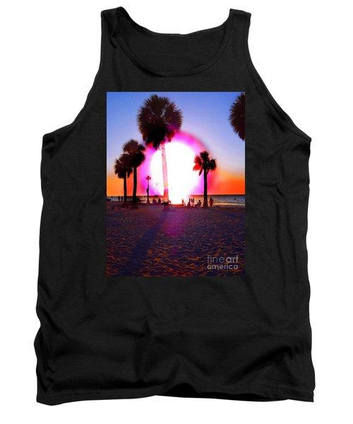 Huge Sun Pine Island Sunset  Tank Top by Expressionistart studio Priscilla Batzell