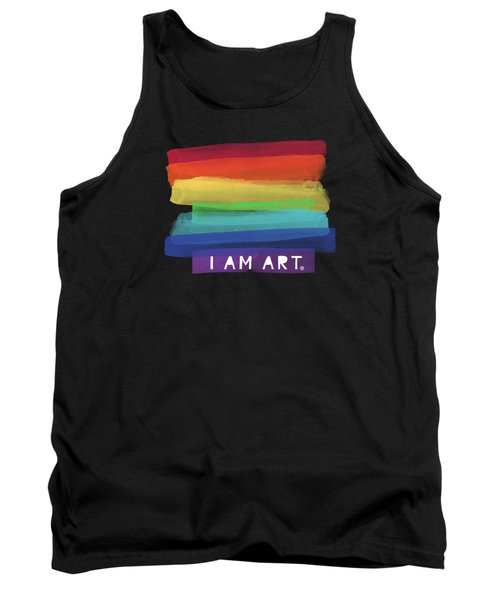 I Am Art Rainbow Stripe- Art By Linda Woods Tank Top