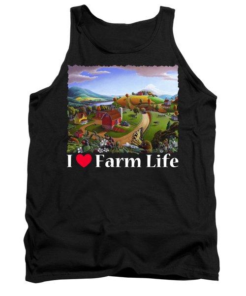 I Love Farm Life T Shirt - Appalachian Blackberry Patch 2 - Rural Farm Landscape Tank Top