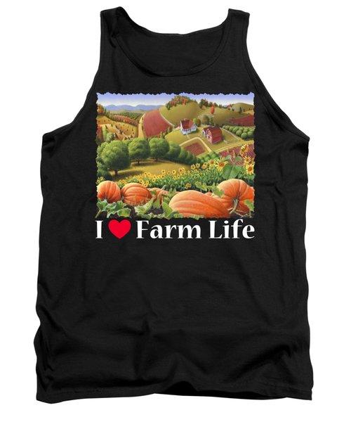 I Love Farm Life T Shirt - Appalachian Pumpkin Patch - Rural Farm Landscape 2 Tank Top