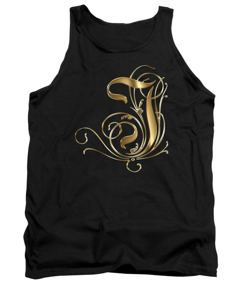 I Ornamental Letter Gold Typography Tank Top