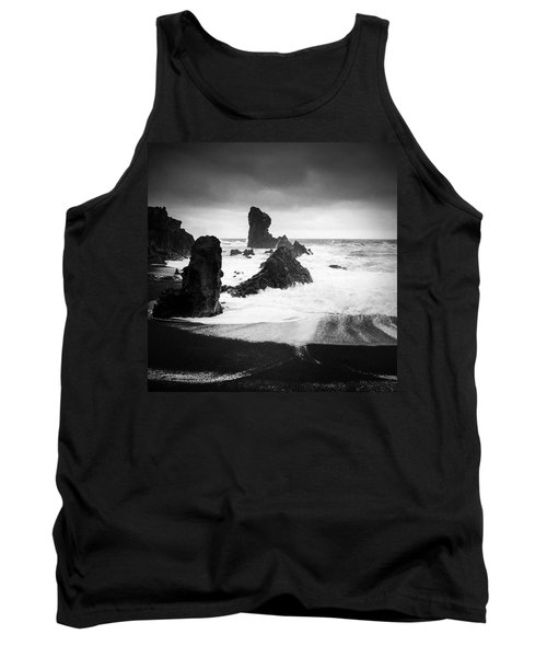 Iceland Dritvik Beach And Cliffs Dramatic Black And White Tank Top
