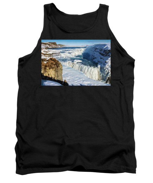 Iceland Gullfoss Waterfall In Winter With Snow Tank Top by Matthias Hauser