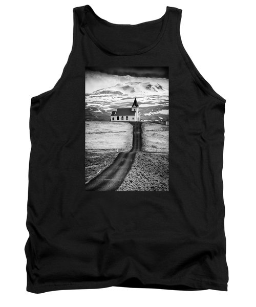 Iceland Ingjaldsholl Church And Mountains Black And White Tank Top
