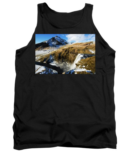 Iceland Landscape With Skogafoss Waterfall Tank Top by Matthias Hauser