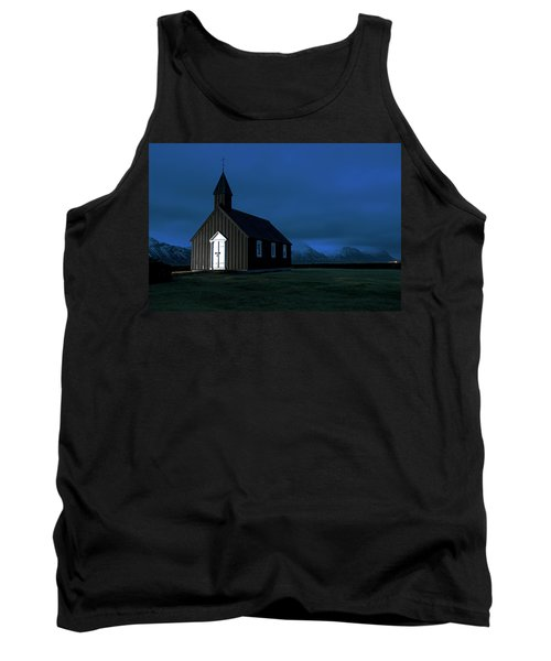 Tank Top featuring the photograph Icelandic Church At Night by Dubi Roman