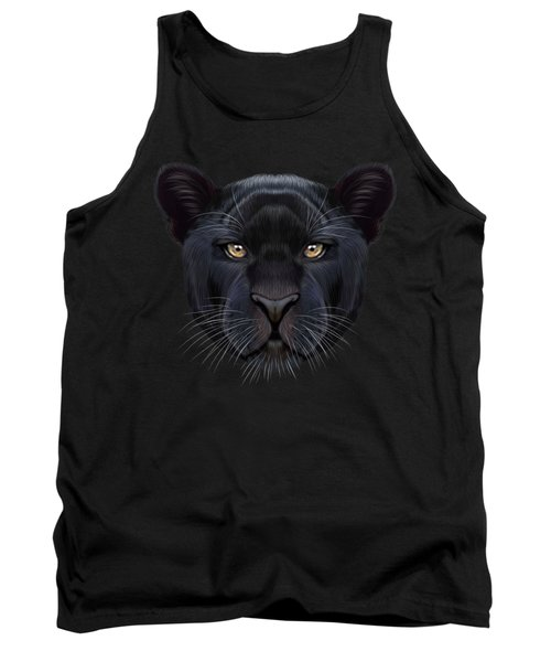 Illustrated Portrait Of Black Panther.  Tank Top by Altay Savrukov