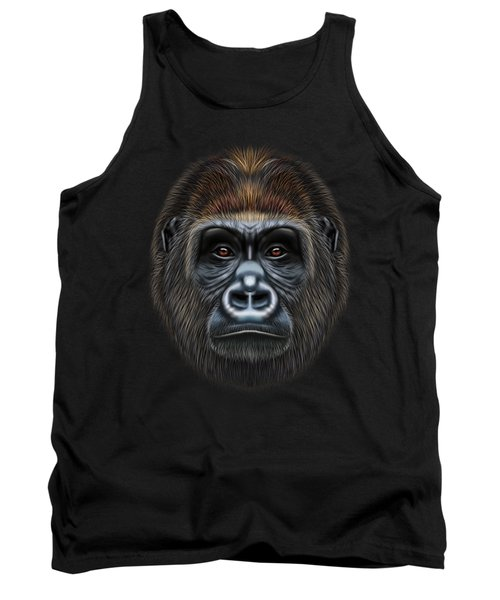 Illustrated Portrait Of Gorilla Male. Tank Top by Altay Savrukov