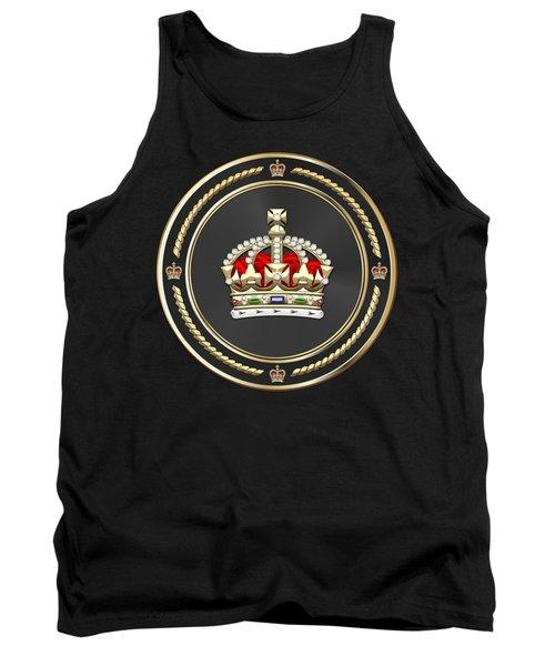 Imperial Tudor Crown Over Black Velvet Tank Top