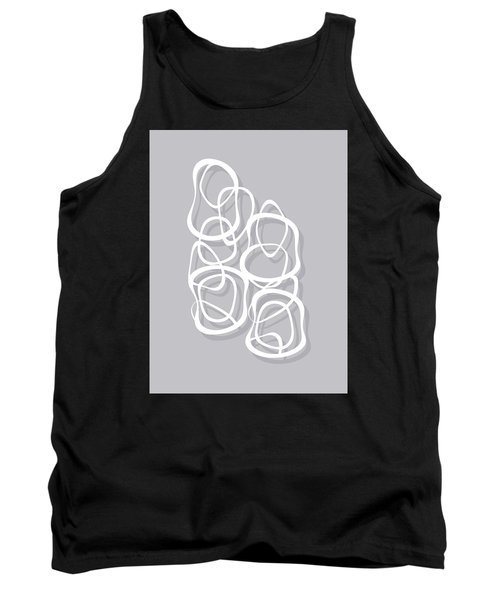 Interlocking - White On Soft Gray Owl - Pattern Tank Top