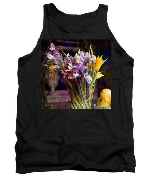 Irises In A Glass Tank Top