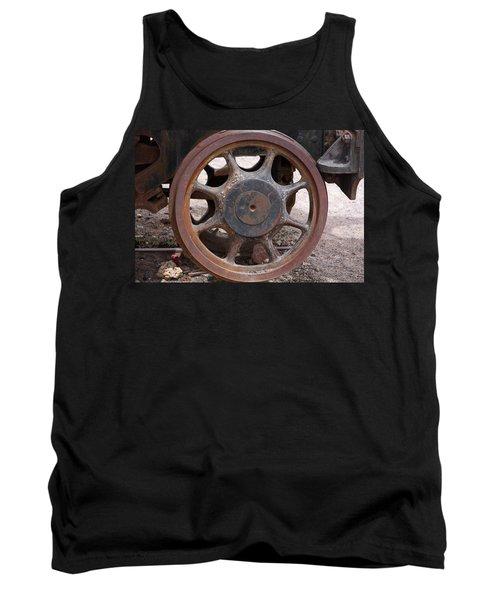 Tank Top featuring the photograph Iron Train Wheel by Aidan Moran