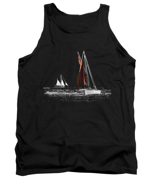 Isolated Yacht Carrick Roads On A Transparent Background Tank Top by Terri Waters