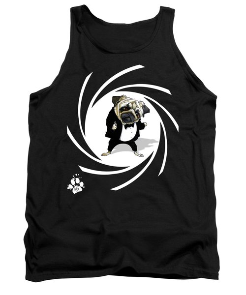 James Bond Pug Caricature Art Print Tank Top