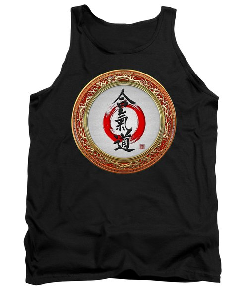 Japanese Calligraphy - Aikido On Black Tank Top