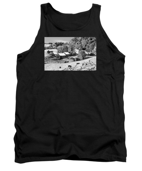 Tank Top featuring the photograph Jenne Farm In Autumn Black And White Scenic Landscape by Betty Denise