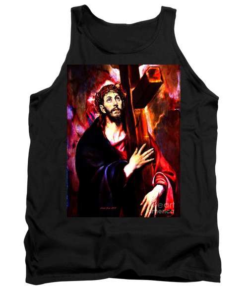 Tank Top featuring the painting Jesus Christ Carrying The Cross by Annie Zeno