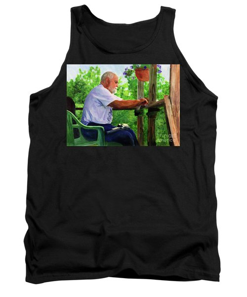 John Cleaning The Rifle Tank Top by Donna Walsh