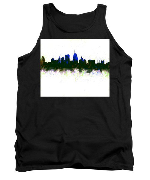 Kansas City Skyline Blue  Tank Top by Enki Art
