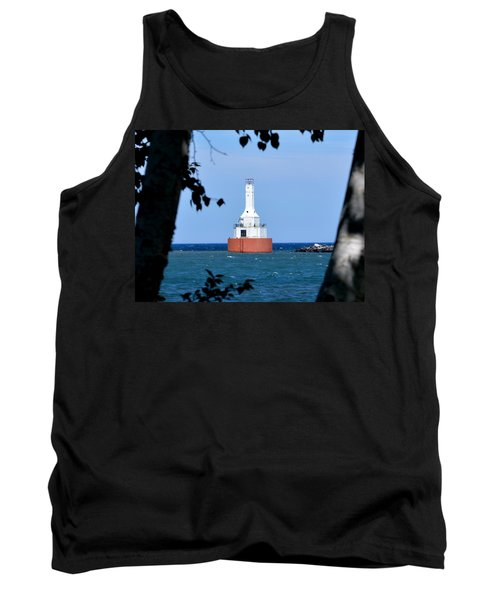 Keweenaw Waterway Lighthouse. Tank Top by Keith Stokes