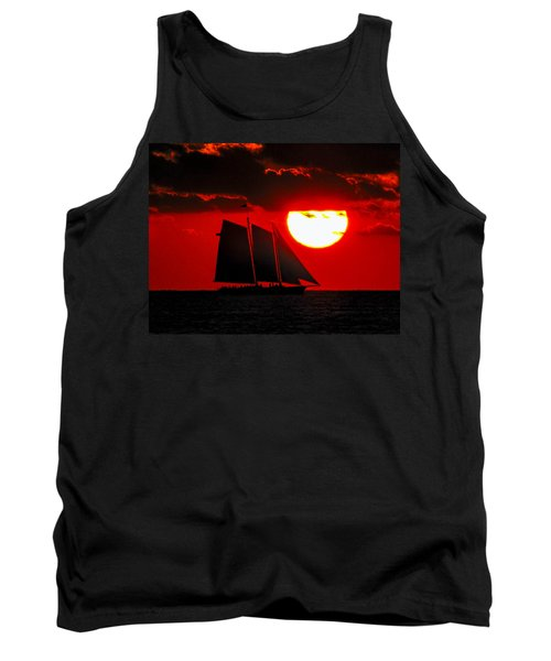Key West Sunset Sail Silhouette Tank Top