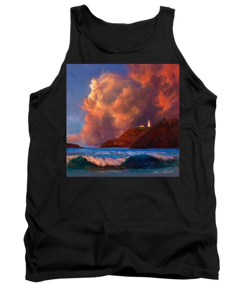 Kilauea Lighthouse - Hawaiian Cliffs Sunset Seascape And Clouds Tank Top