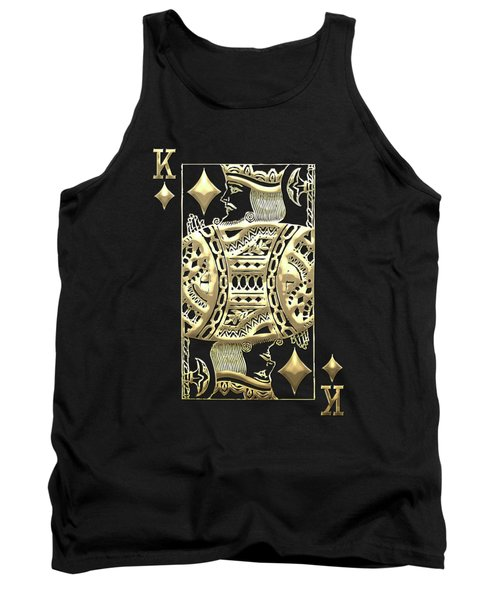 King Of Diamonds In Gold On Black  Tank Top