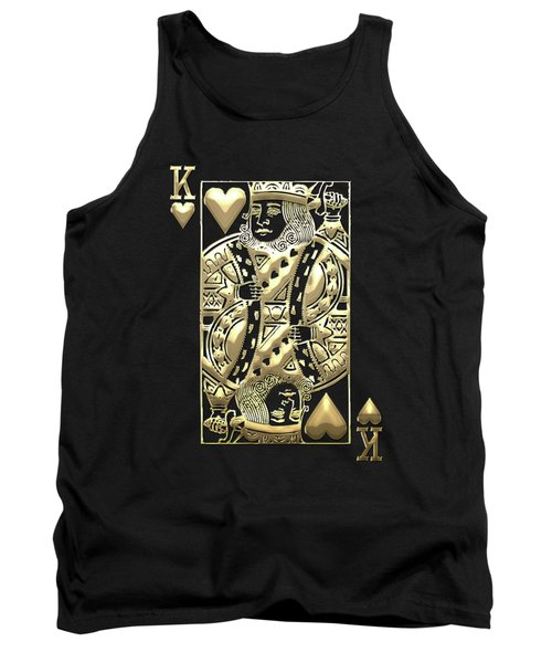 King Of Hearts In Gold On Black Tank Top