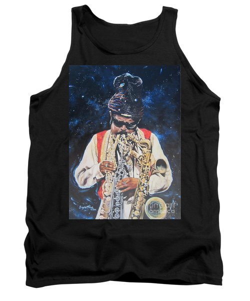 Tank Top featuring the painting American History. .  Rahsaan  Roland Kirk  by Sigrid Tune