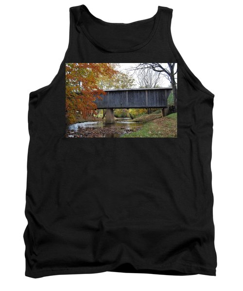 Tank Top featuring the photograph Kissing Bridge At Fall by Eric Liller