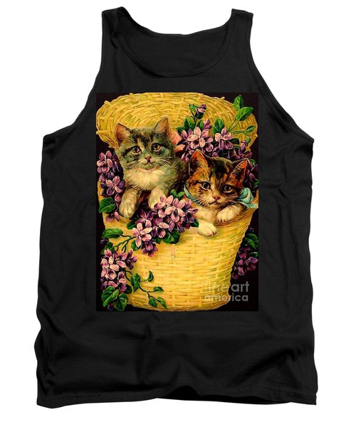 Kittens With Violets Victorian Print Tank Top