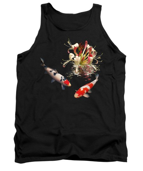 Koi With Honeysuckle Reflections Square Tank Top