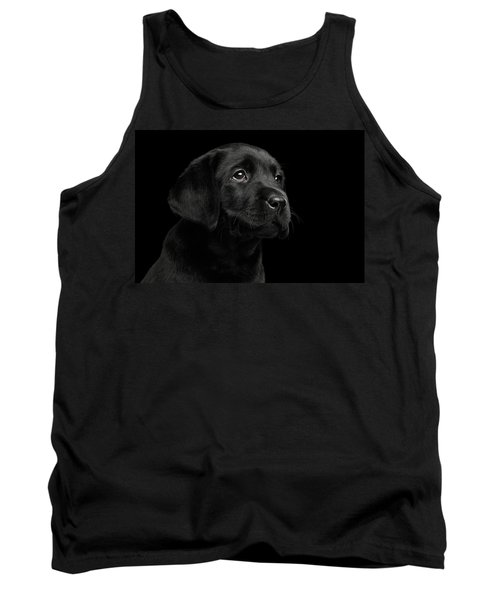 Labrador Retriever Puppy Isolated On Black Background Tank Top